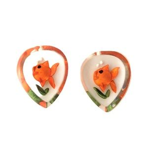 Vintage Lucite Goldfish Earrings Clip-On Fish Bowl